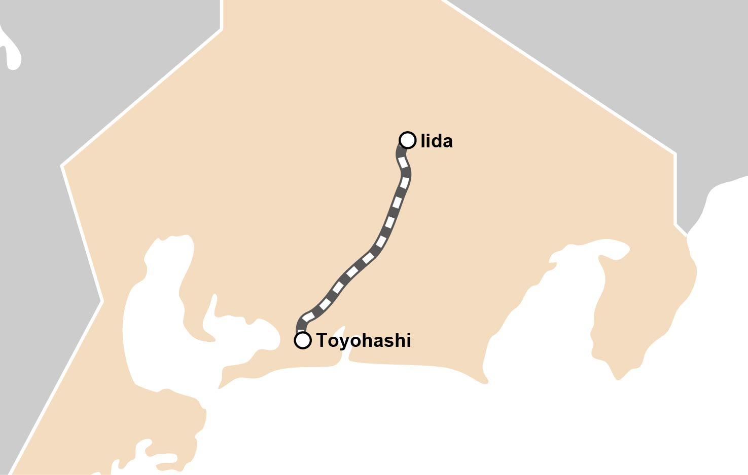 route map : The Iida Line Unexplored Station Train