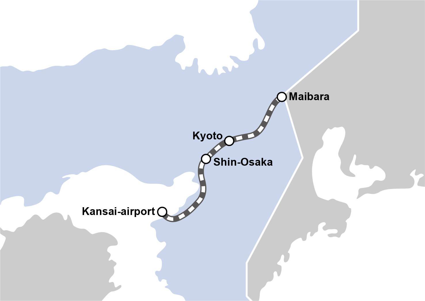 "route map : kansai-Airport Espress ""HARUKA"""