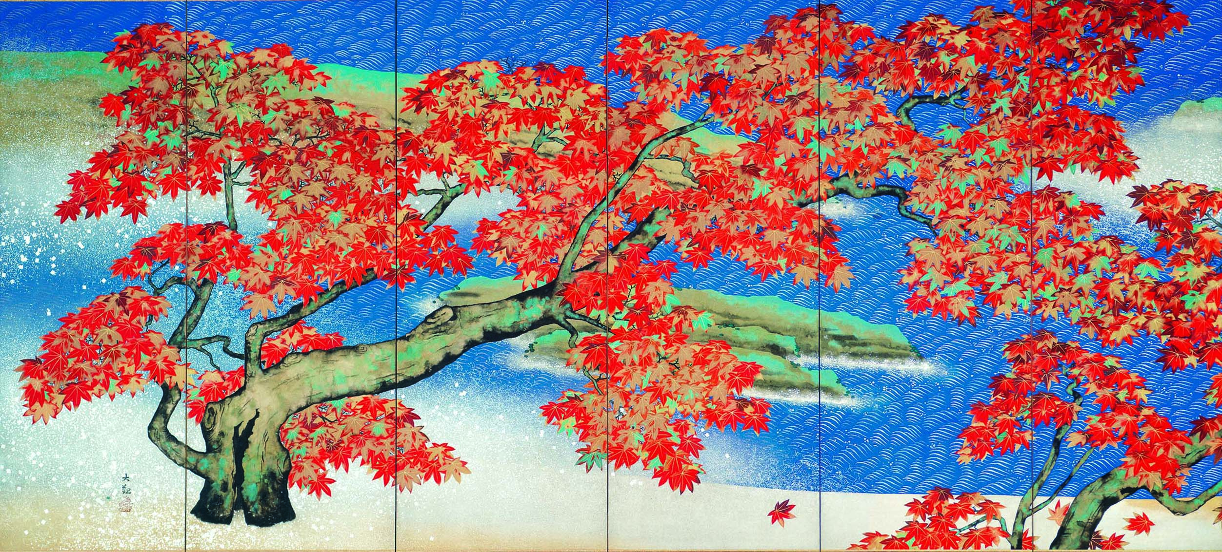 "ADACHI MUSEUM OF ART (c) The Dry Landscape Garden, Yokoyama Taikan ""Autumn Leaves"" (1931)"